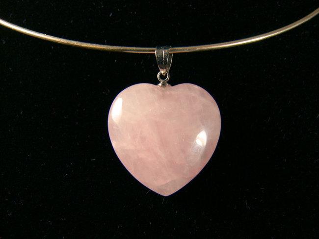 Pendentif Coeur avec cordon Quartz rose