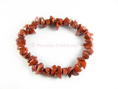 Bracelet fantaisie en jaspe rouge naturel