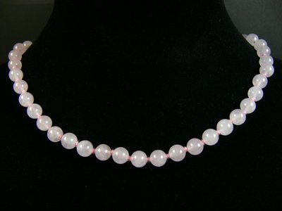 Collier quartz rose boule pierres
