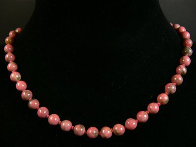 Collier bille rhodonite minéral