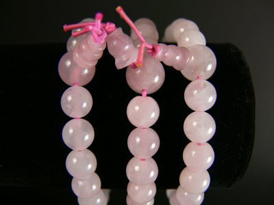 Bracelet tibetain en quartz rose