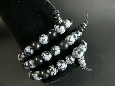 Bracelet tibetain obsidienne neige