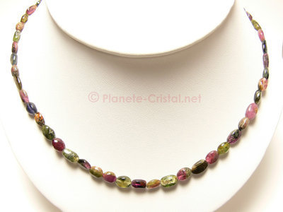 Collier Tourmaline multicolore pierre precieuse